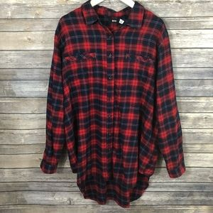 BDG Red Plaid Flannel Button Up Top